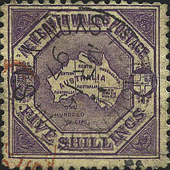 First map stamp error. The stamp, issued in 1888 shows a map of the Australian continent with the Provinces indicated. However, the Province of the Northern Territory is included in South Australia. The Northern Territory had been annexed in 1863 to South Australia for administrative purposes, but was a separate provincial entity. In addition the Province of Tasmania is simply omitted.