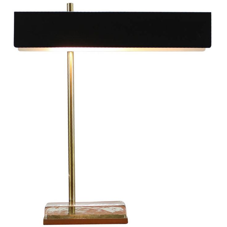 Exclusive Desk Lamp with Massive Glass Base in the Style to Fontana Arte