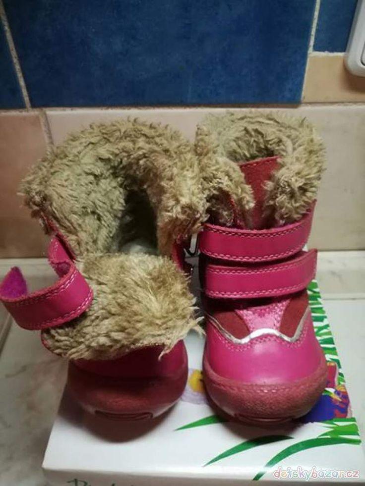 Prodám dětské zimní boty,vel 21,stélka 13 - kupované v lekárně . málo nošené, spíše jen v kočárku.