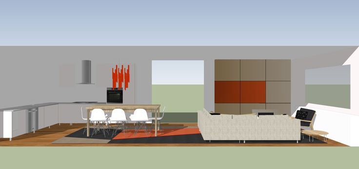 SketchUp working model of dining and living space