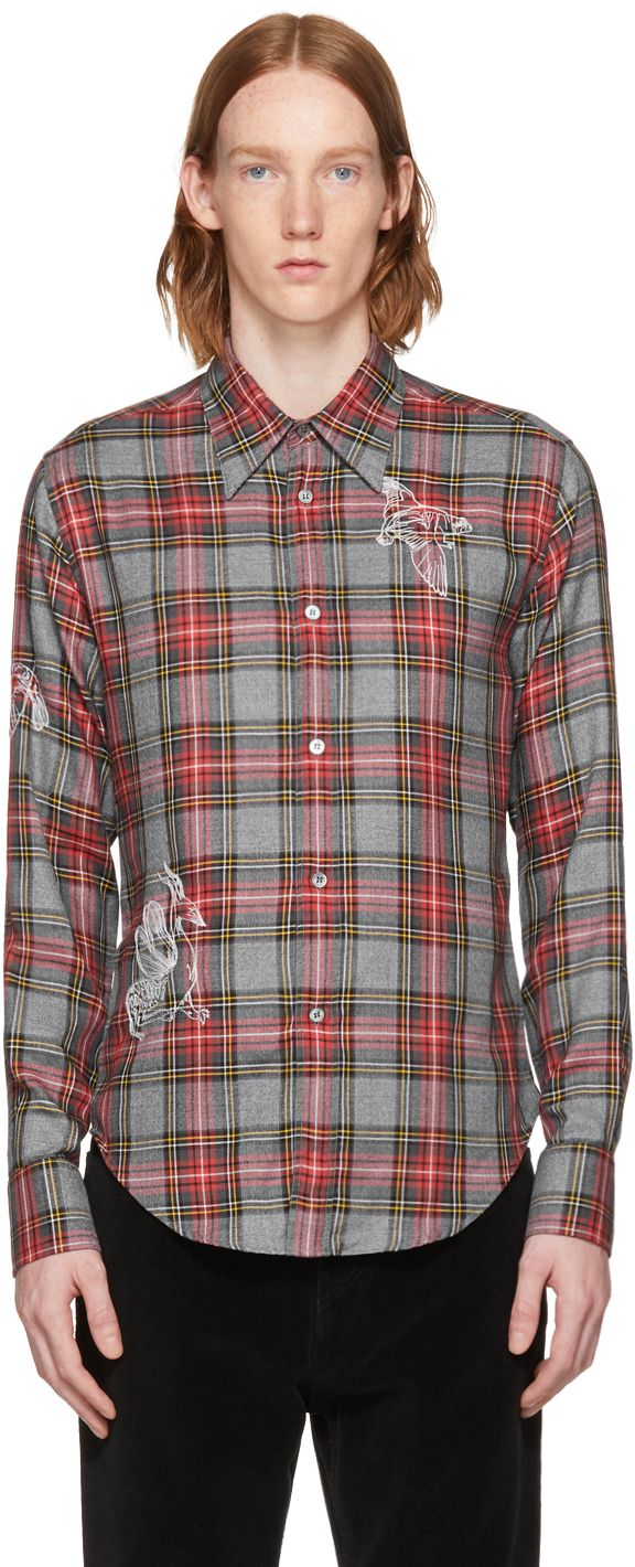 Stella McCartney - Grey & Red Embroidered Plaid Shirt