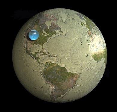 How much of planet Earth is made of water? Very little, actually. Although oceans of water cover about 70 percent of Earth's surface, these oceans are shallow compared to the Earth's radius. The above illustration shows what would happen if all of the water on or near the surface of the Earth were bunched up into a ball. The radius of this ball would be only about 700 kilometers, less than half the radius of the Earth's Moon.