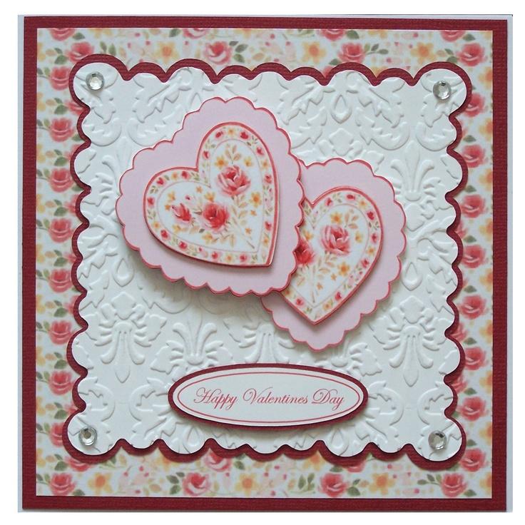 Handmade valentines card emboss die cuts   Valentine's Day ...