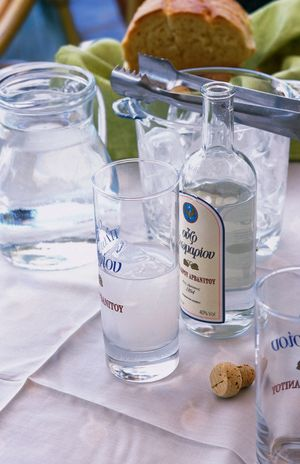 Some of the better-known brands available outside of Greece are: Ouzo 12, Sans Rival, Ouzo Barbayianni, and Ouzo Mini. In Greece, brands such as Plomari, Tinarvou, and Kefi are also widely enjoyed. - Ouzo is customarily served neat - no ice. The Greeks will add iced water to dilute the strength causing the liquid to turn an opaque, milky white. If you add the ice directly to the Ouzo, you will create unsightly crystals on the surface of your drink. -  γεια μας !