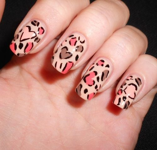 Pretty animal print.Heart Nails, Beautiful Nails, Heart Shape, Colors Nails, Leopards Prints, Animal Prints, Leopards Nails, Nails Art Design, Prints Nails