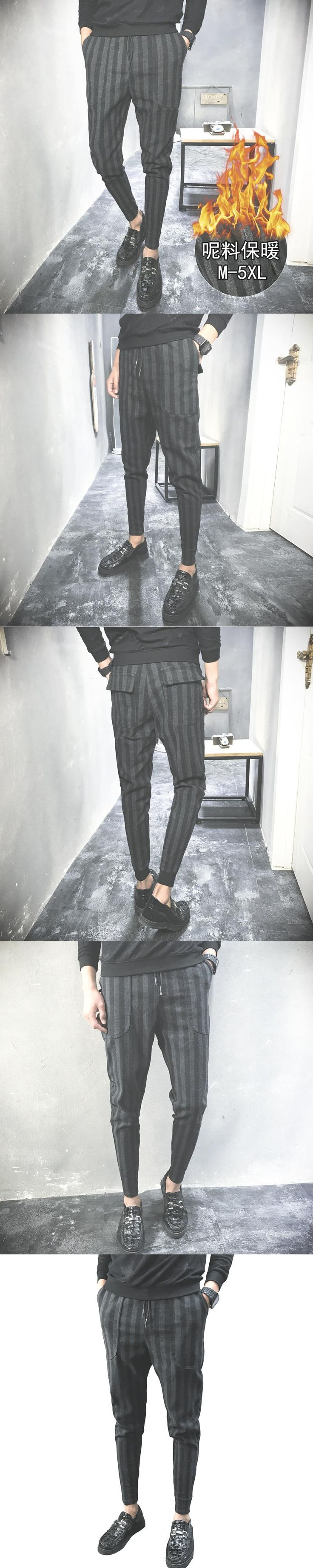 New 2017 Autumn Winter Worsted Stripe Bound Feet Haren Casual Pants Keep Warm Pantalon Hombre Chinos Mens Inverno Trousers Youth