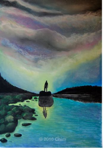 Soft pastel drawing.  Painting of lake and a colorful sky, a lone soul stands there steady and brave… the rest is up to your imagination.  Acqua, Albero, brave, Carta, cileo, Colori, coraggio, Cosmo, coulds, Espressionismo, Fantascienza, fantastico, lago, lake, landscape, man, montagne, Natura, nuvole, panorama, rocks, sassi, sky, starry, stellato, uomo, verde