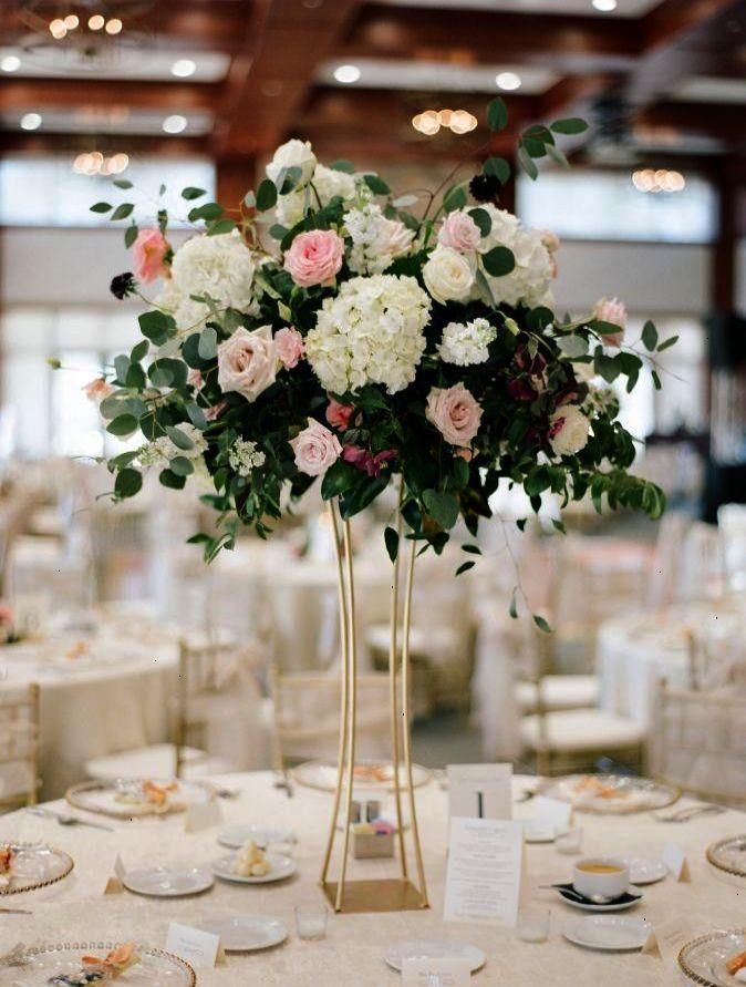 Tall Hydrangea And Rose Wedding Centerpiece Gold Modern Vase