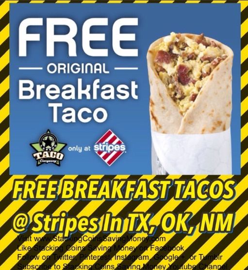 FREE BREAKFAST AT LAREDO TACO COMPANY Check Stripes Convenience Stores and Gas Stations Facebook Page for a FREE Coupon for a FREE Breakfast Tacos - STACKING COINS SAVING MONEY SCSM #coupons #freebies #texas #oklahoma #newmexico #stripes #laredotacocompany #stackingcoins #savingmoney #stackingcoinssavingmoney #SCSM
