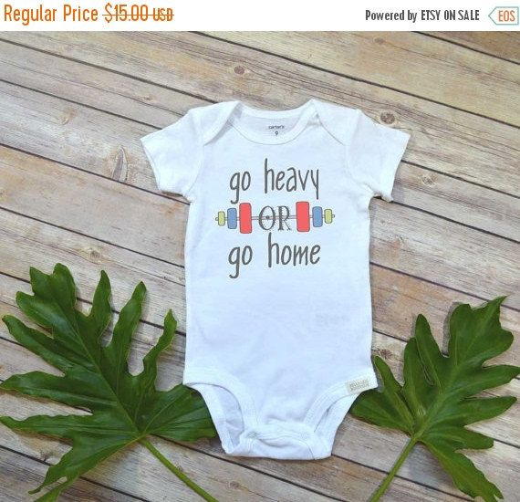 Workout Onesie®, Go Heavy or Go Home, Baby Shower Gift, Crossfit Baby Gift, Hipster Baby, Workout Baby shirt, Funny Onesie, Fitness Baby shirt