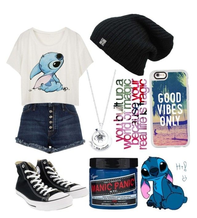 """""""Lilo and stitch"""" by musiclover135 ❤ liked on Polyvore featuring River Island, Converse, Casetify, Manic Panic NYC and Disney"""