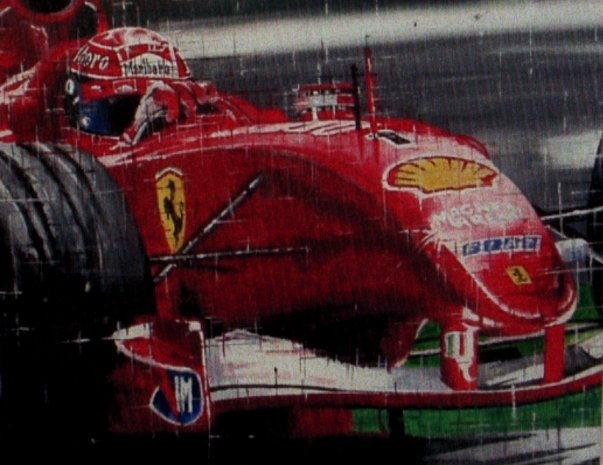Michael Schumacher Ferrari F1 Watercolour Painting.