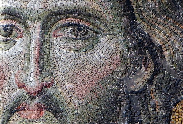 Christ's face (close), Deësis mosaic, Hagia Sophia Undated Byzantine mosaic