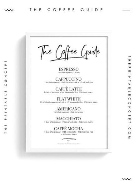The Coffee guide is a modern and minimalist printable wall art will look great in every coffee lovers house. The Coffee Guide |Coffee Chart Art Print Poster