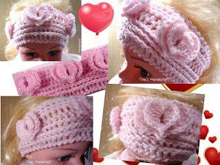 Tina's handicraft : how to make crochet headband with double hearts