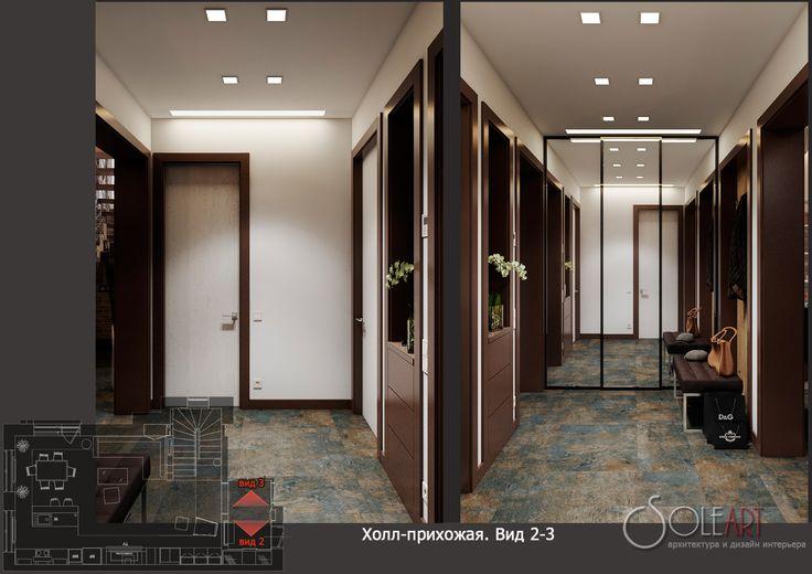 дизайн-проект таунхауса, холл прихожая, дизайн-проект прихожей, прихожая в таунхаусе