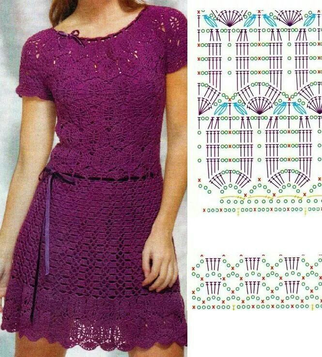 Crochet dress with charts