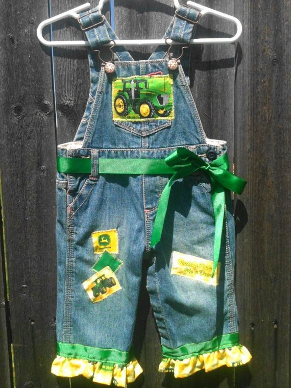 John Deere Overalls for Girl by countrywesternkids on Etsy, $45.00- I would totally put my little girl in these!