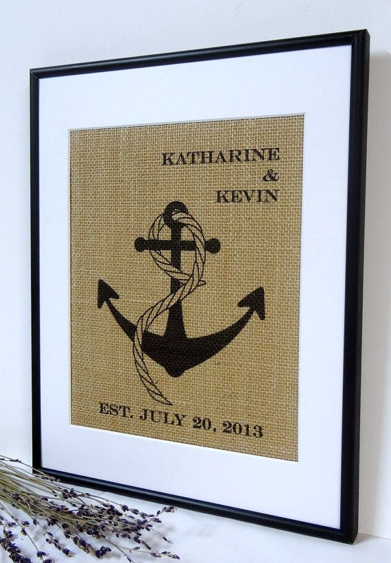 Personalized Burlap Nautical Wedding Gift // Custom Wedding Present  // Nautical Print // Anniversary Gift // Anchor Art Print //