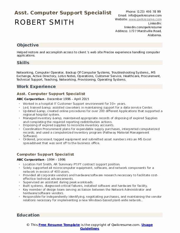 Computer Support Specialist Resume Elegant Puter Support Specialist Resume Samples In 2020 Counselor Job Description Job Resume Samples Job Description