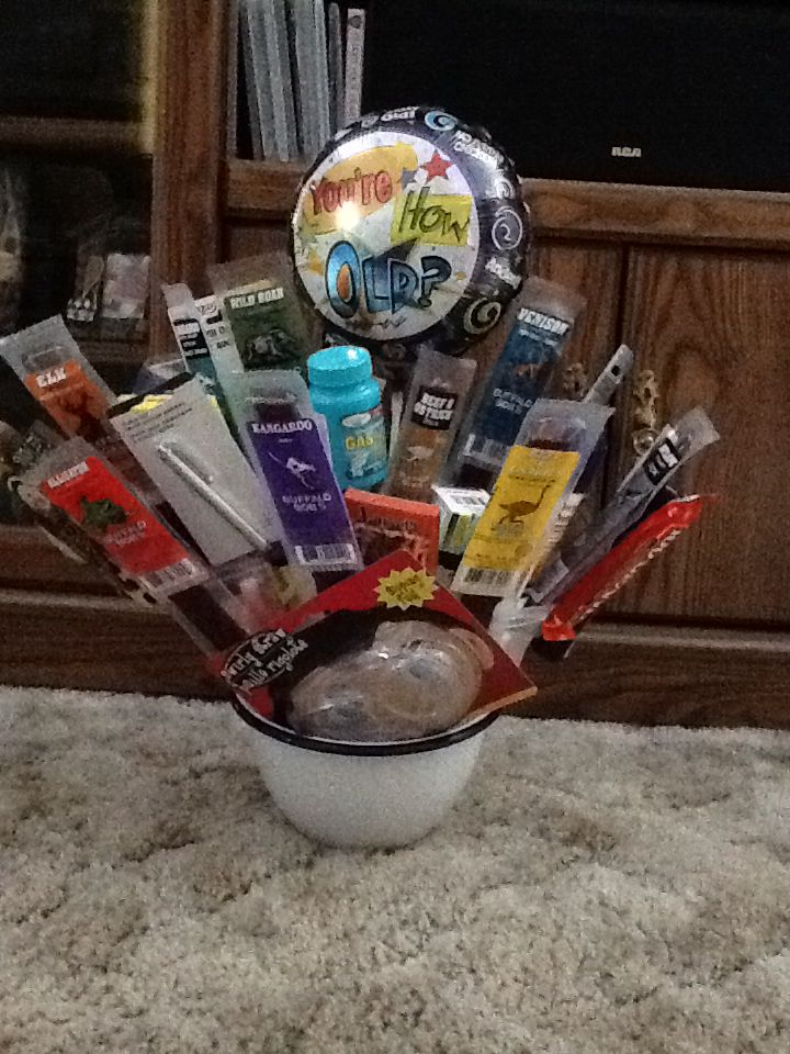 Man bouquet I made for bros 50 th birthday