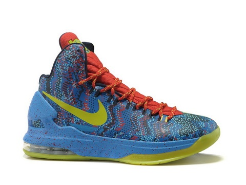 Nike Zoom KD V 5 Christmas Edition,Style code:554988-105,The shoe features  a blue upper with a pixelated print which consists of blue, bright crimson,  ...
