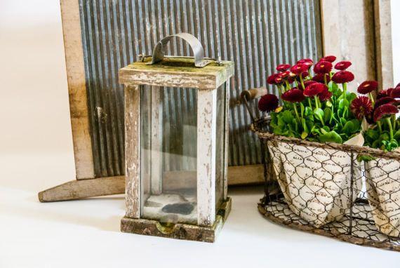 Vintage lámpara rústica madera madera linterna de la vela /
