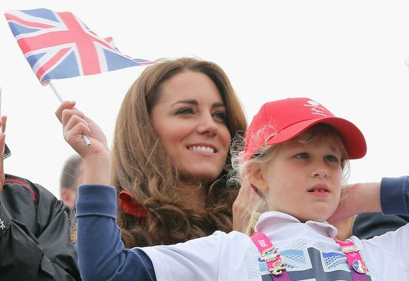 Lady Louise Windsor and Catherine, Duchess of Cambridge watch Great Britain Mixed Coxed Four Rowing - LTAMix4+ team celebrate after winning gold on day 4 of the London 2012 Paralympic Games at Eton Dorney on September 2, 2012 in Windsor, England.
