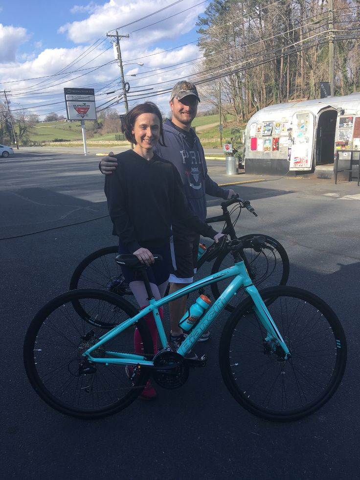 Estelle with her new Bianchi Luna and Matt with his new