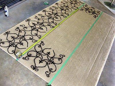 Rug Painting Tutorial: Paintings Rugs, Diy Stencil, Sprays Paintings, Paintings Tutorials, Rugs Tutorials, Painting Tutorials, Stencil Rugs, Rugs Paintings, Diy Rugs