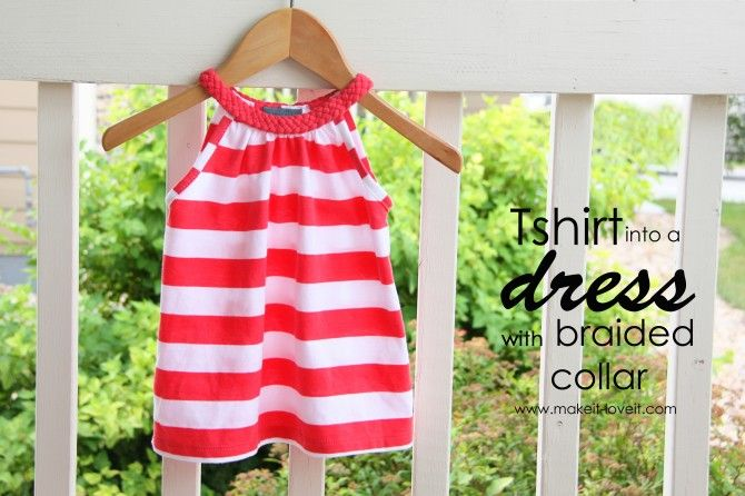 DIY old T-shirt into little girls' dress with braided collar. Easy.