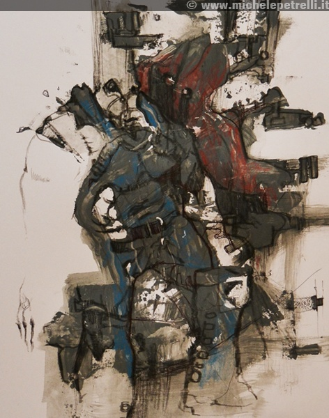 """""""warrior"""" - Michele Petrelli - mixed on paper - 2012 - For additional info: http://www.michelepetrelli.it/"""