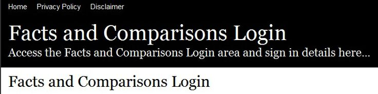Secure Login | Access http://www.netankiety.pl/ the Facts and Comparisons login here. Secure user login to Facts and Comparisons. To access the secure area for Facts and Comparisons you must proceed to the login page.