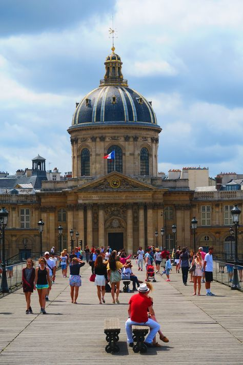 Overlooking the Institut de France from the famous Pont des Arts as you enter Saint Germain des Pres - the most chic neighborhood in Paris