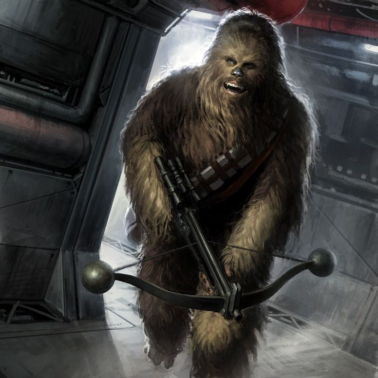 Chewie – Star Wars fan art illustration showing Chewbacca running with a crosbow painted by digital artist Darren Tan. The image was made as a card for Star War Galaxies Trading Card Game. Copyright Darren Tan.