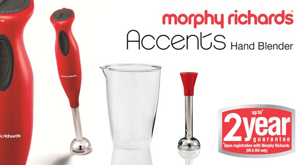Blend soups & sauces in style with the Morphy Richards Red Hand Blender – save 50%