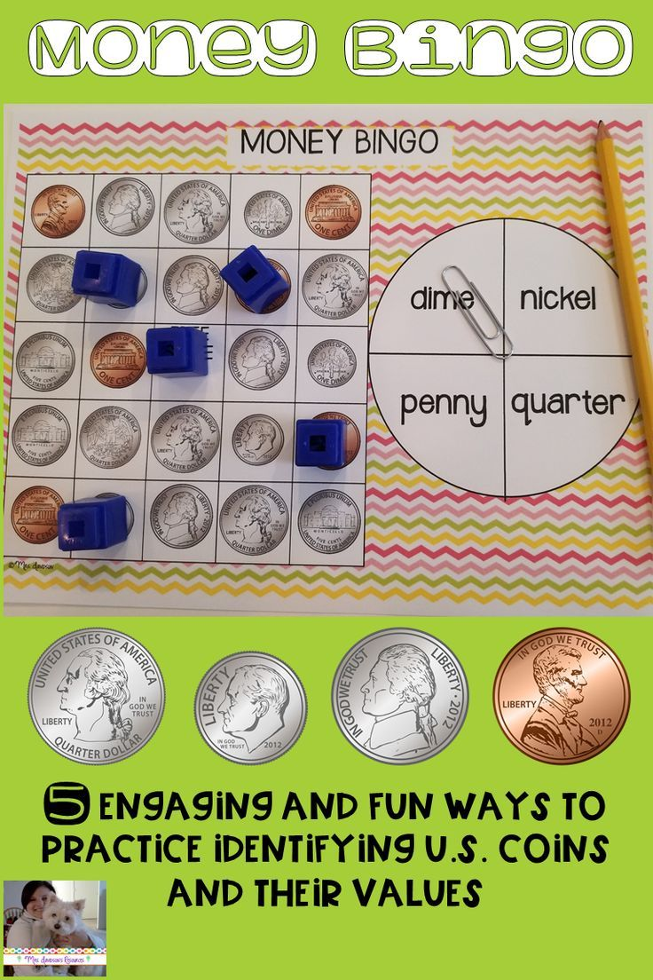 These engaging money bingo games are perfect for students learning to identify the appearance and value of coins! The coins in this game are pennies, nickels, dimes and quarters. This activity could easily be used in small group instruction, as a supplement to your curriculum, as a fast finisher activity, or to differentiate your instruction. #elementary #money #coins #mathgames #bingogames #teaching