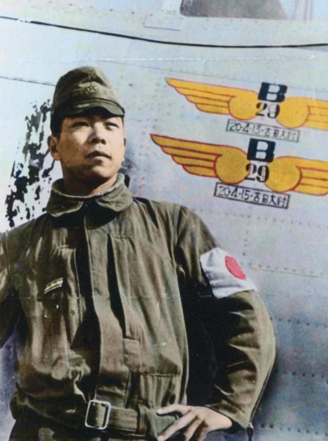 Cpt Yoshio Yoshida stands proudly by his Ki-44-II-Hei of 3rd Chutai/70th Sentai at Kashiwa Airfield, June 1945. The two victory marks are dated 13 and 15 April 1945, and are detailed with both his name and rank. He claimed 6 B-29s and 1 probable.