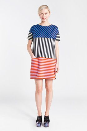 "Platu by Marimekko. This could be cute as a ""shingle"" dress. All in color blocked stripes - maybe short this time."