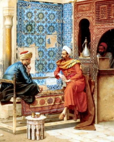 8x10 Print Muslim Recreation Arabian Tribes Men Chess Game Arab Cafe Coffee Pot in Art, Art from Dealers & Resellers, Prints | eBay