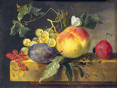 Title: Still Life with Fruit and Butterfly, c.1735 Artist: Jan van Huysum Medium: Canvas Art Print - Giclee