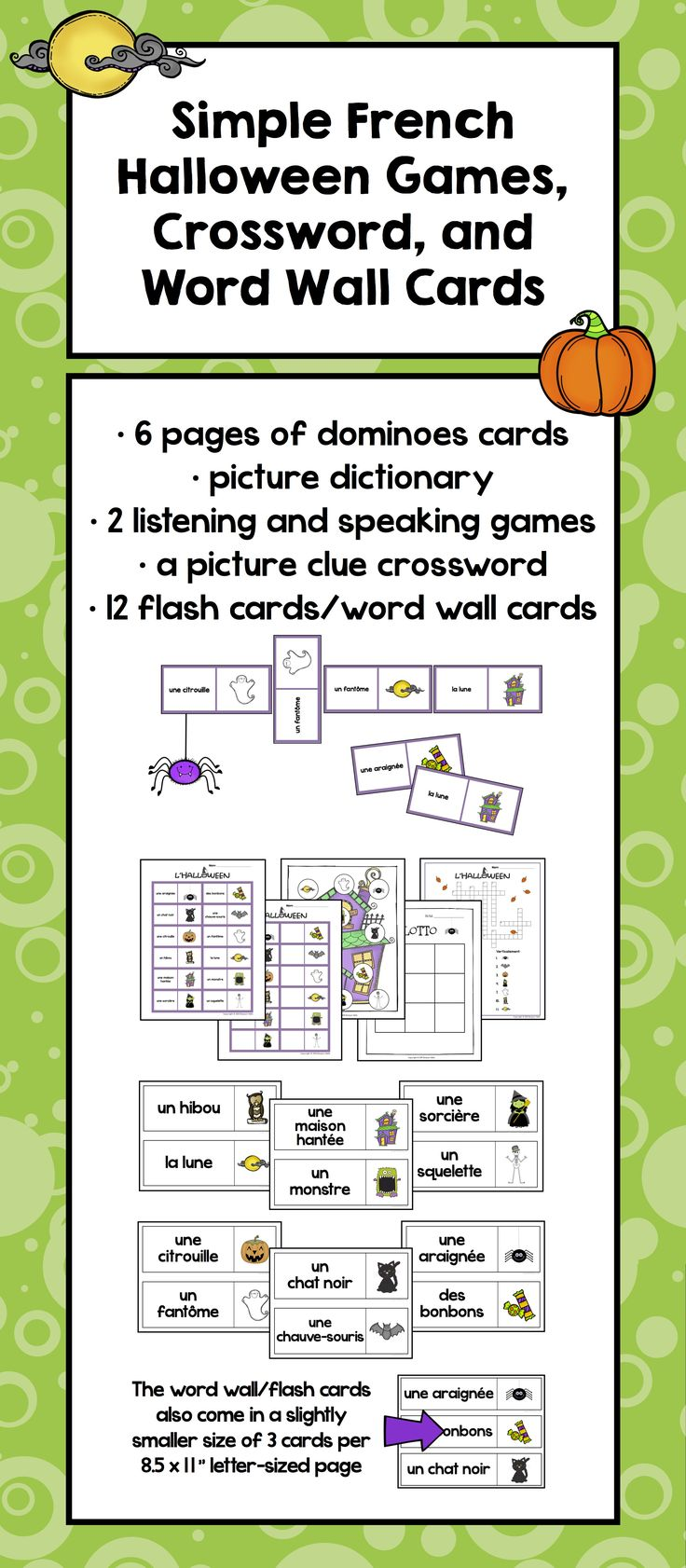 $ Simple French Halloween Games, Crossword, and Word Wall Cards