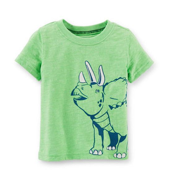 Carter's Baby Boy Dinosaur Graphic Tee Green  Your son will love his new dinosaur shirt and so will you! Crafted from 100% cotton it is so soft and very comfortable. Great bright hue of green goes with the latest trend of fluorescent colours. Perfect mix and match style.