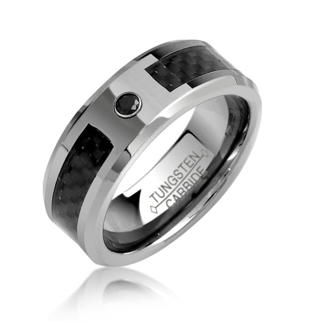 Black CZ Tungsten Wedding Band Mens Ring With Carbon Fiber Inlay 8mm