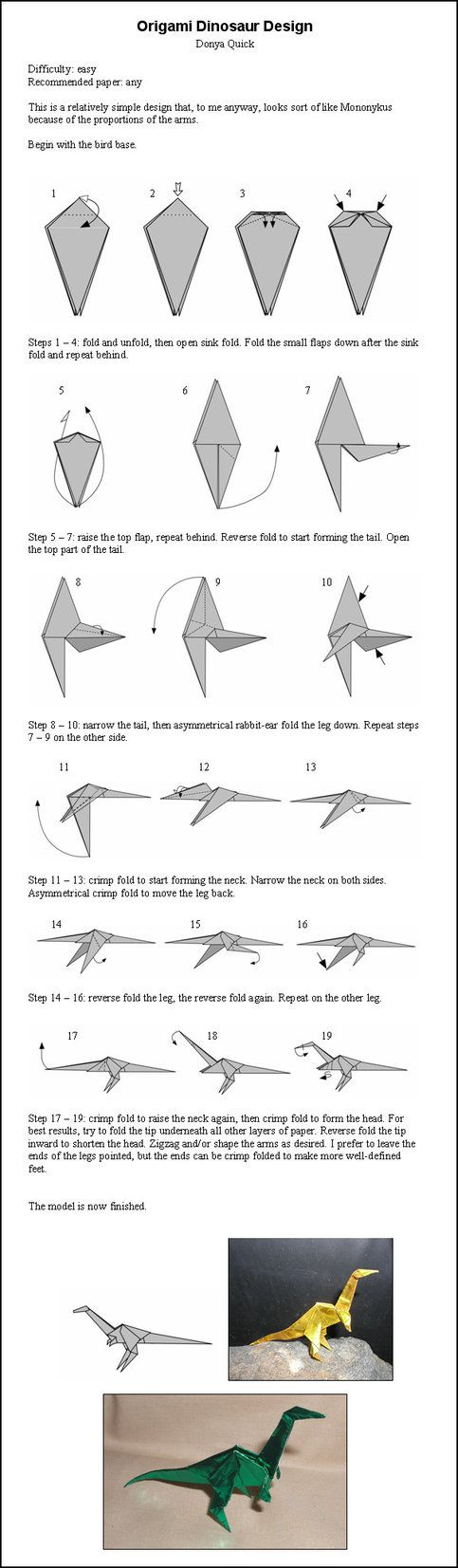 Origami Dinosaur Instructions by ~DonyaQuick on deviantART