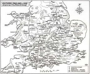 A large-scale map of southern England (up to York) in the reign of King Æthelred the Unready (978-1016; c. 1000), showing the boroughs, bishoprics, and mints known to exist at that time.