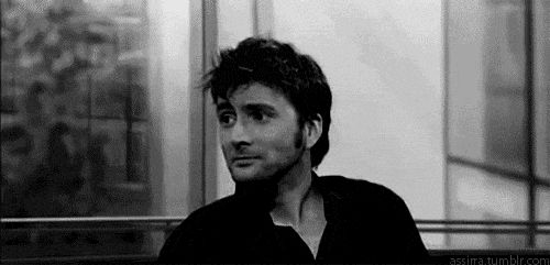 """Having a bad day? Here's a gif of David tennant smiling. I dare you not to smile back :)"" Keeping this forever"