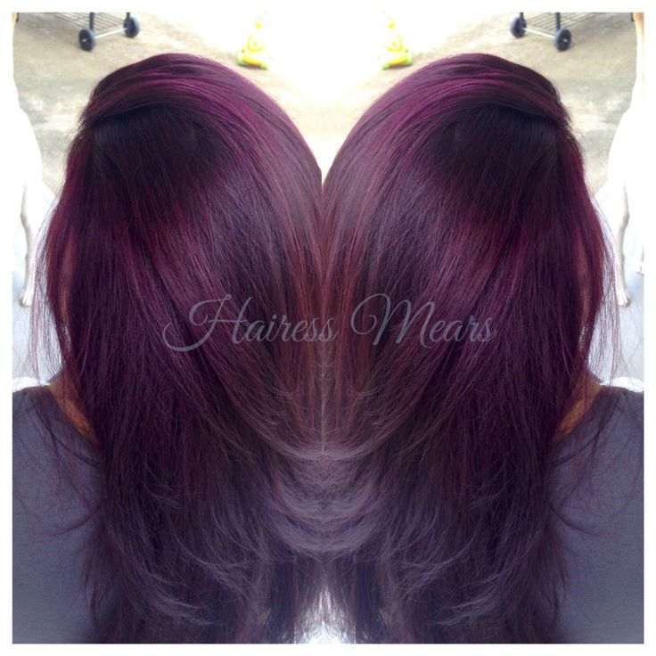 Black raspberry sangria. Lightened to level 9 Dark red violet with red highlights and color melt to black ends. #olaplex Instagram -GuamGypsy