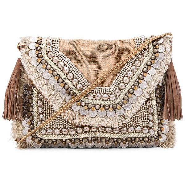 SHASHI Leela Clutch found on Polyvore featuring bags, handbags, clutches, carteras, woven handbags, fringe handbags, woven purse, burlap purse and hand woven bags