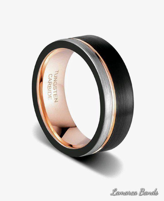 Rose Gold Black Mens Tungsten Wedding Band Rose Gold Ring Rose Gold Wedding Band Black Me Mens Wedding Bands Tungsten Rings For Men Wedding Ring Sets Unique
